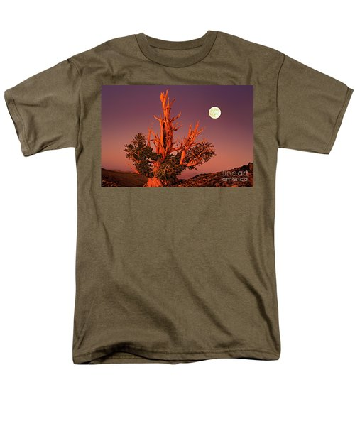 Men's T-Shirt  (Regular Fit) featuring the photograph Full Moon Behind Ancient Bristlecone Pine White Mountains California by Dave Welling