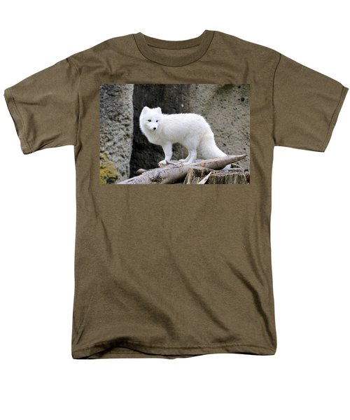 Furry Arctic Fox  Men's T-Shirt  (Regular Fit) by Athena Mckinzie