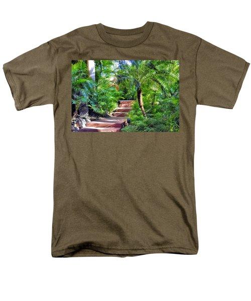 Men's T-Shirt  (Regular Fit) featuring the photograph Garden Path by Jim Walls PhotoArtist
