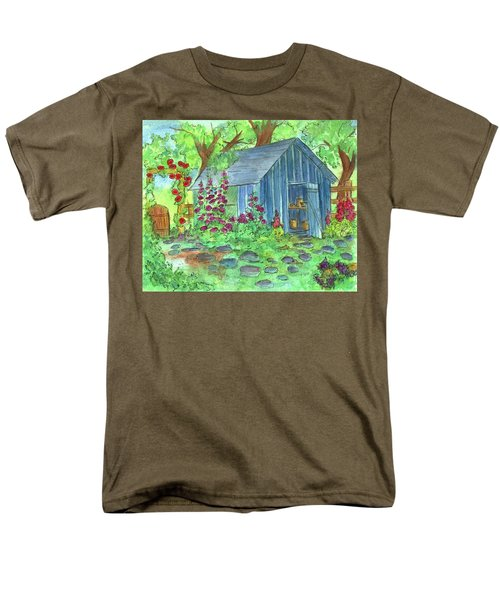 Men's T-Shirt  (Regular Fit) featuring the painting Garden Potting Shed by Cathie Richardson