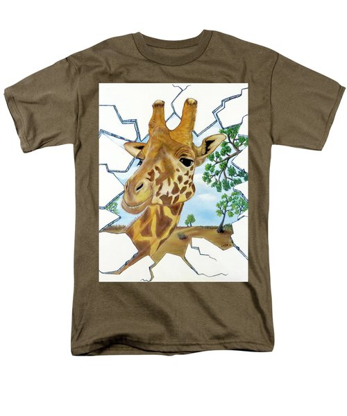 Men's T-Shirt  (Regular Fit) featuring the painting Gazing Giraffe by Teresa Wing