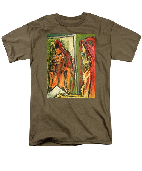 Men's T-Shirt  (Regular Fit) featuring the painting Girl With Eye Glasses--self-analysis by Kenneth Agnello