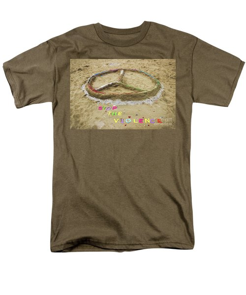Men's T-Shirt  (Regular Fit) featuring the photograph Give Peace A Chance - Sand Art by Colleen Kammerer