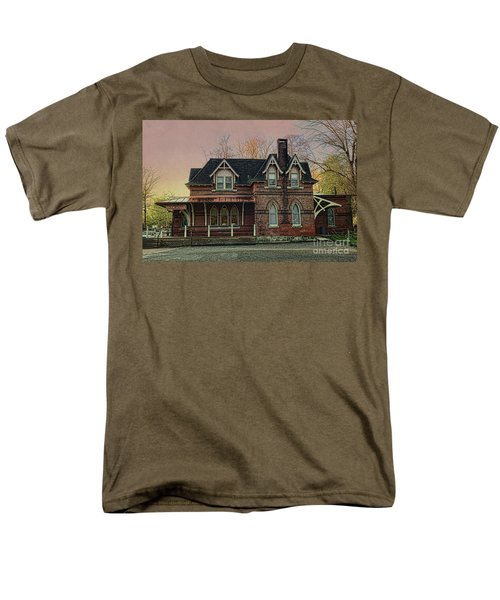 Men's T-Shirt  (Regular Fit) featuring the photograph Glen Mill Train Station by Judy Wolinsky