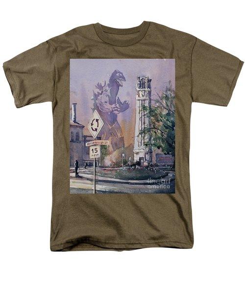 Men's T-Shirt  (Regular Fit) featuring the painting Godzilla Smash Ncsu- Raleigh by Ryan Fox