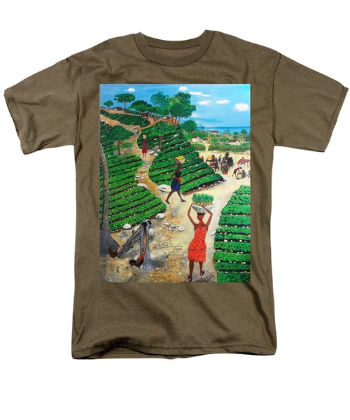 Men's T-Shirt  (Regular Fit) featuring the painting Going To The Marketplace #4 -  Walking Through The Terraces by Nicole Jean-Louis