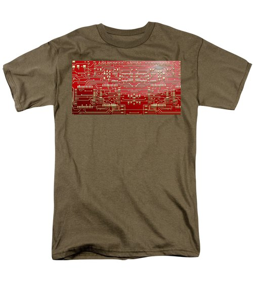 Gold Circuitry On Red Men's T-Shirt  (Regular Fit) by Serge Averbukh