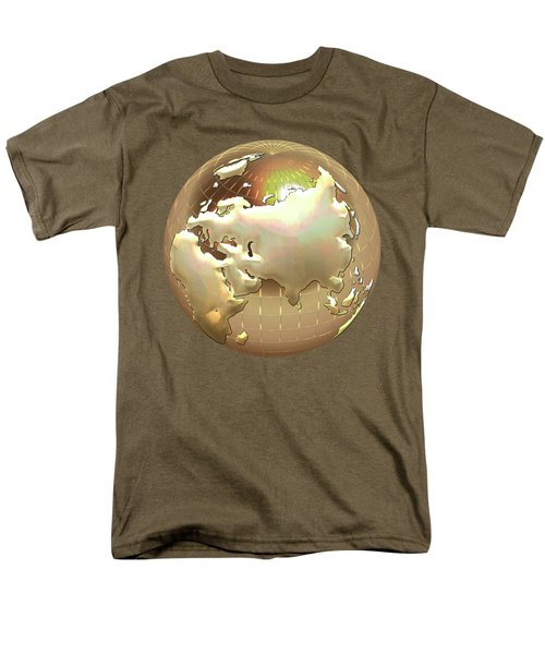 Golden Globe - Eastern Hemisphere On Gold Men's T-Shirt  (Regular Fit) by Serge Averbukh