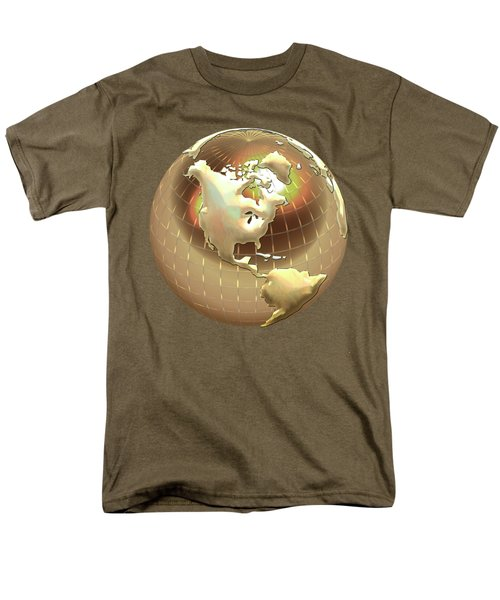 Golden Globe - Western Hemisphere On Black Men's T-Shirt  (Regular Fit) by Serge Averbukh