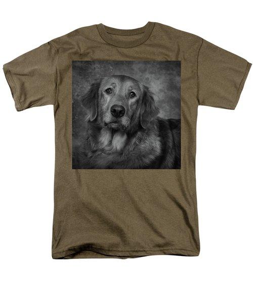 Golden Retriever In Black And White Men's T-Shirt  (Regular Fit) by Greg Mimbs
