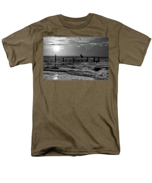 Men's T-Shirt  (Regular Fit) featuring the photograph Golden Sunrise On The Outer Banks  Bw by Dan Carmichael