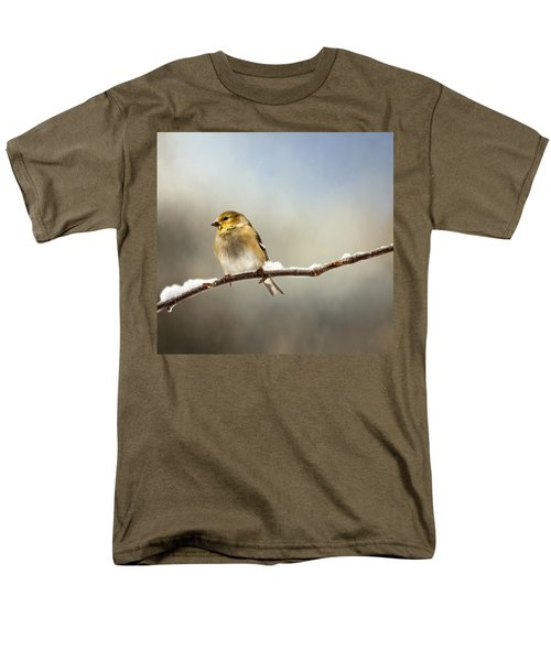 Goldfinch After A Spring Snow Storm Men's T-Shirt  (Regular Fit) by Betty Pauwels