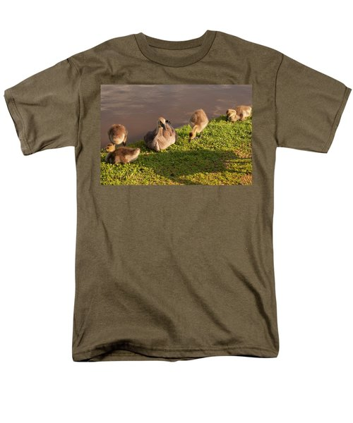 Men's T-Shirt  (Regular Fit) featuring the photograph Goslings Basking In The Sunset by Chris Flees