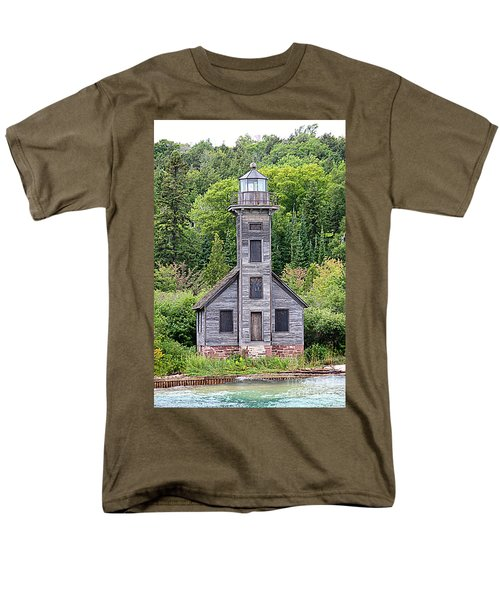 Men's T-Shirt  (Regular Fit) featuring the photograph Grand Island East Channel Lighthouse #6554 by Mark J Seefeldt