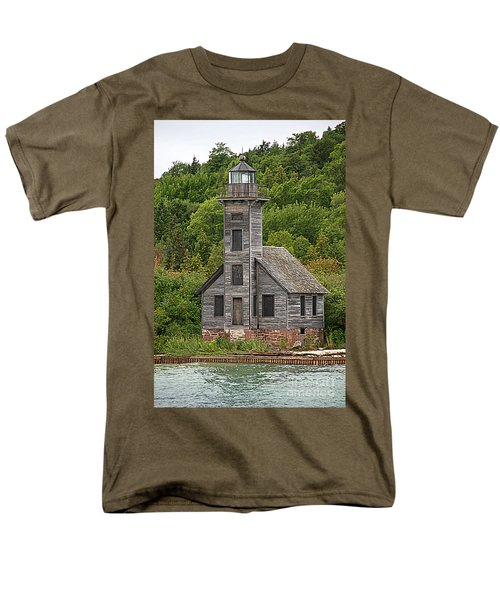 Men's T-Shirt  (Regular Fit) featuring the photograph Grand Island East Channel Lighthouse #6664 by Mark J Seefeldt