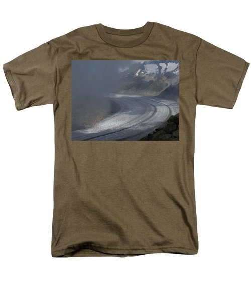 Great Aletsch Glacier In The Clouds. Canton Of Valais, Switzerland. Men's T-Shirt  (Regular Fit) by Ernst Dittmar