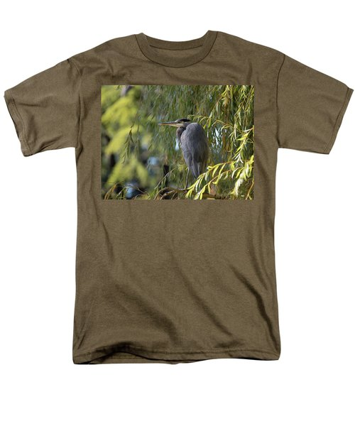 Great Blue Heron In A Willow Tree Men's T-Shirt  (Regular Fit) by Keith Boone
