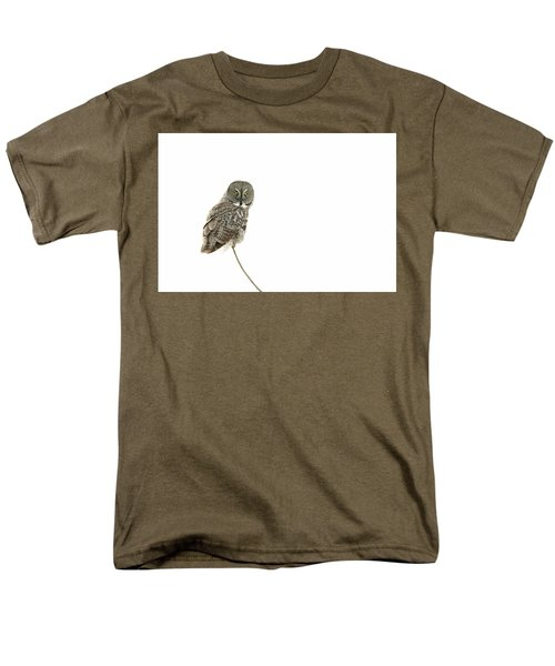 Men's T-Shirt  (Regular Fit) featuring the photograph Great Grey Owl On White by Mircea Costina Photography