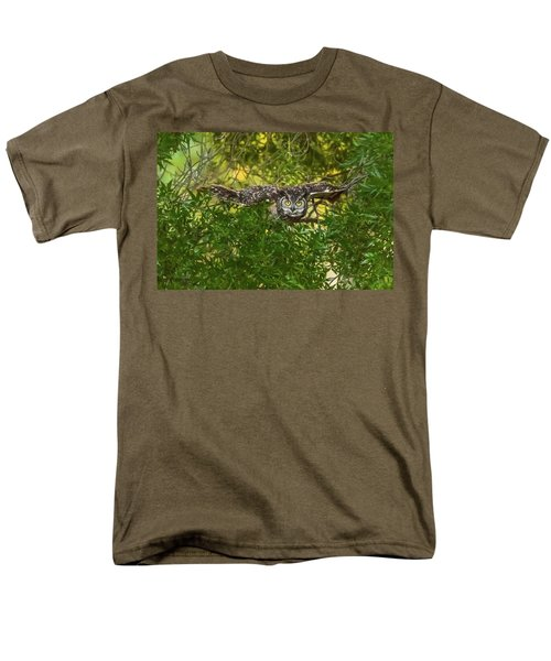 Great Horned Owl Take Off Men's T-Shirt  (Regular Fit) by Marc Crumpler