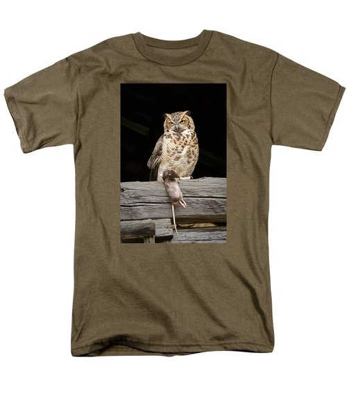 Men's T-Shirt  (Regular Fit) featuring the photograph Great Horned Owl With Dinner by Tyson and Kathy Smith