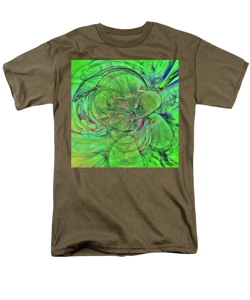 Men's T-Shirt  (Regular Fit) featuring the digital art Green World Abstract by Deborah Benoit