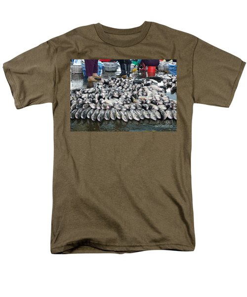 Men's T-Shirt  (Regular Fit) featuring the photograph Grey Mullet Fish For Sale At The Fish Market by Yali Shi