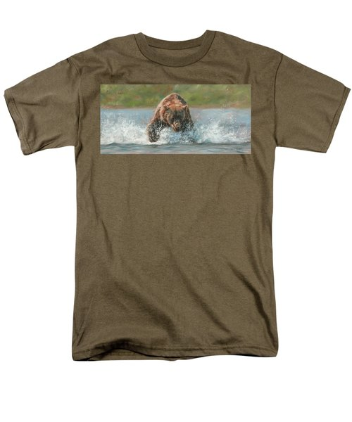 Grizzly Charge Men's T-Shirt  (Regular Fit) by David Stribbling
