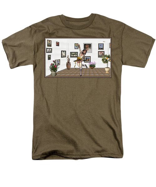 Men's T-Shirt  (Regular Fit) featuring the mixed media Digital Exhibartition _  Dancing Girl  by Pemaro