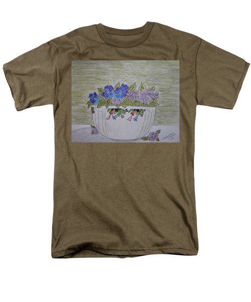 Men's T-Shirt  (Regular Fit) featuring the painting Hall China Crocus Bowl With Violets by Kathy Marrs Chandler