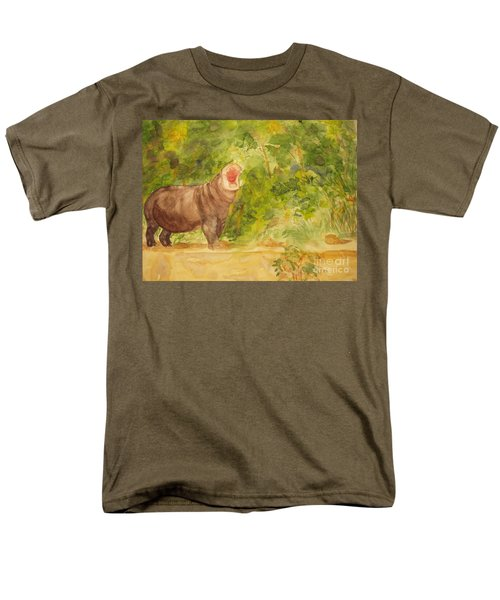 Men's T-Shirt  (Regular Fit) featuring the painting Happy Hippo by Vicki  Housel