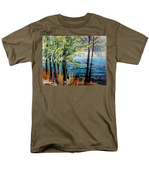 Men's T-Shirt  (Regular Fit) featuring the painting Harbor Trees by John Williams