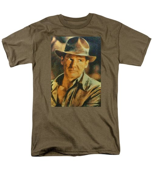 Harrison Ford As Indiana Jones Men's T-Shirt  (Regular Fit) by Charmaine Zoe