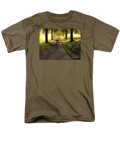 Serenity - Walk With Black Labrador Men's T-Shirt  (Regular Fit)
