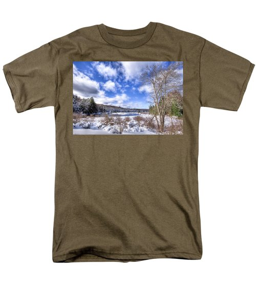 Men's T-Shirt  (Regular Fit) featuring the photograph Heavy Snow At The Green Bridge by David Patterson