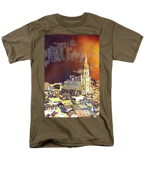 Men's T-Shirt  (Regular Fit) featuring the painting Heidelberg Sunset- Germany by Ryan Fox