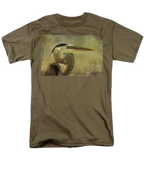 Heron On Texture Men's T-Shirt  (Regular Fit) by Deborah Benoit