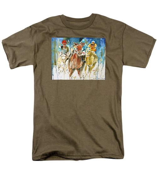Men's T-Shirt  (Regular Fit) featuring the painting Home Stretch by P Maure Bausch
