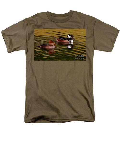 Hooded Merganser Couple Men's T-Shirt  (Regular Fit) by Myrna Bradshaw