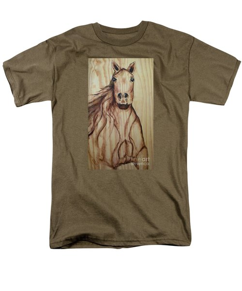 Men's T-Shirt  (Regular Fit) featuring the painting Horse On Wood by Alga Washington