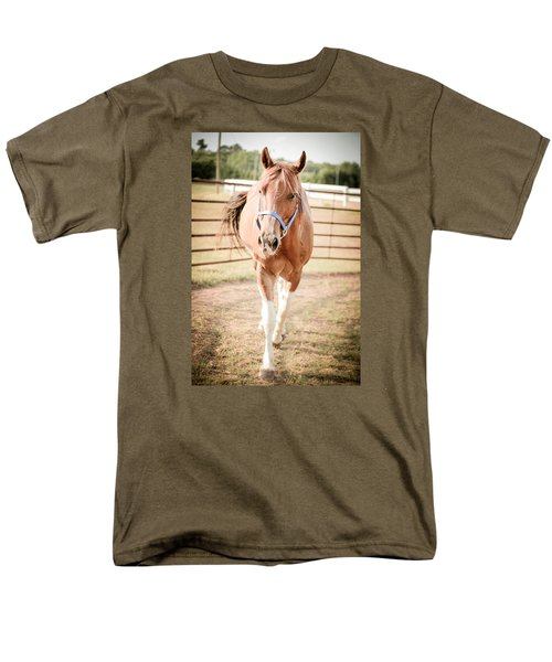 Men's T-Shirt  (Regular Fit) featuring the photograph Horse Walking Toward Camera by Kelly Hazel