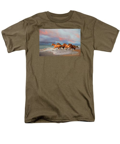 Horses At The Beach Men's T-Shirt  (Regular Fit) by Mim White