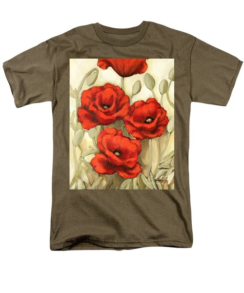 Hot Red Poppies Men's T-Shirt  (Regular Fit) by Inese Poga