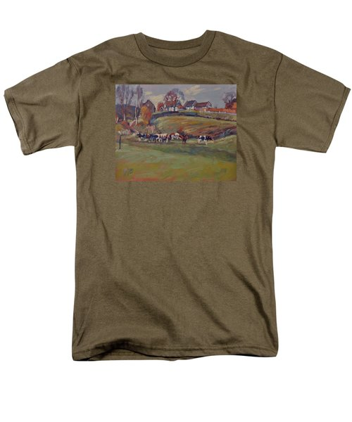 Men's T-Shirt  (Regular Fit) featuring the painting Houses And Cows In Schweiberg by Nop Briex