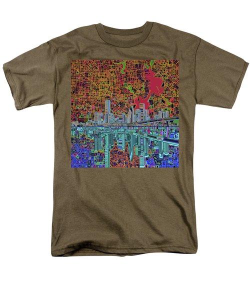 Houston Skyline Abstract 3 Men's T-Shirt  (Regular Fit) by Bekim Art