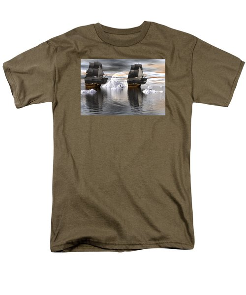 Men's T-Shirt  (Regular Fit) featuring the digital art Hudson Bay Ships by Claude McCoy