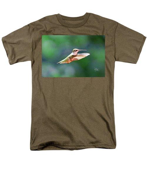 Men's T-Shirt  (Regular Fit) featuring the photograph Hummingbird Flying by Meta Gatschenberger