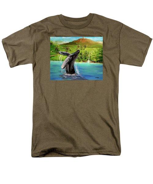 Men's T-Shirt  (Regular Fit) featuring the painting Humpback Whale Breaching At Haleakala Hawaii by Bernadette Krupa