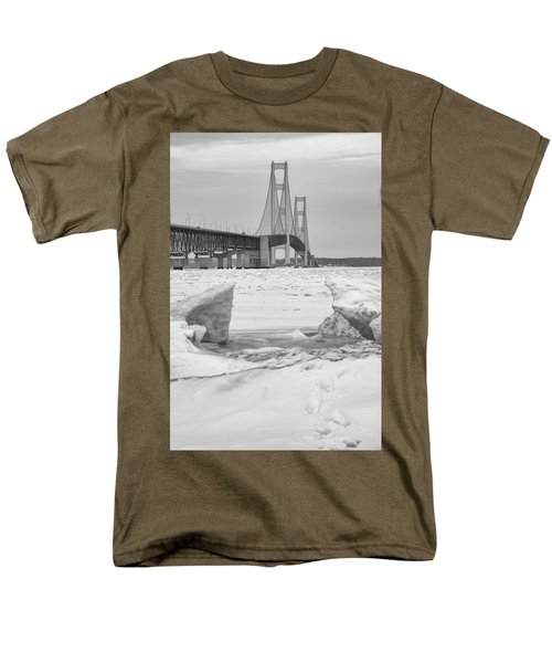 Men's T-Shirt  (Regular Fit) featuring the photograph Icy Black And White Mackinac Bridge  by John McGraw