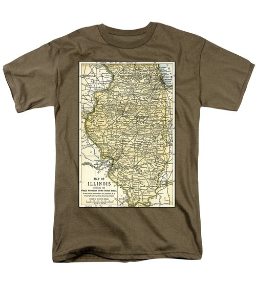 Illinois Antique Map 1891 Men's T-Shirt  (Regular Fit) by Phil Cardamone
