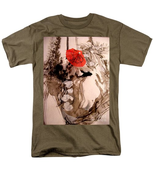 Men's T-Shirt  (Regular Fit) featuring the mixed media In The Winter Garden by Nancy Kane Chapman